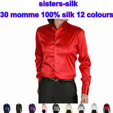 Mens 30 Momme 100% Pure Silk Long Sleeve Business Formal Dress Shirts Size S-4XL