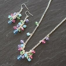 CRYSTAL CLUSTER EARRING & NECKLACE JEWELLERY KIT MADE WITH SWAROVSKI CRYSTALS