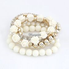 Mix Flower Beads Stretch Bracelet Temperament Alloy Resin Rhinestone Bangle UTAR