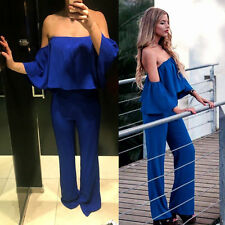 NEW ZARA WOMAN ROYAL BLUE OFF SHOULDERS LONG JUMPSUIT Ref. 2784/840 BLOGGERS!