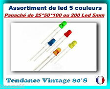 *** LOT DE 25/50/100 OU 200 LED 5MM DIFFUSANTES / 5 COULEURS ASSORTIES ***
