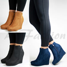 New Womens Suede Look Hidden Wedge High Heel Ankle Boots Flat Ladies Shoes