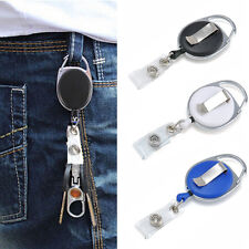 New Retractable Reel Recoil ID Badge Lanyard Name Tag Key Card Holder Belt Clip