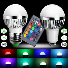 3W RGB LED Bulb Light Lamp 16 Colors Change With 24 Key Remote Controller New