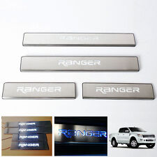 LED Blue Chrome Stainless Sill Scuff Plate Fit Ford Ranger T6 Pickup 12-2016 #