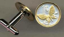 """Handmade Papa New Guinea 1 Toea """"Butterfly"""" 24k Gold on Silver Coin Cuff-links"""