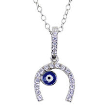 Horseshoe Evil Eye Necklace Sterling Silver Cubic Zirconia Lucky Charm for Women