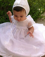 New Girls White Baptism Christening Gown w/ Bonnet Dedication Organza Dress USA