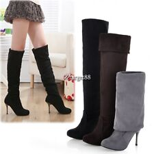 Womens Stiletto Heel Over Stretch The Knee Thigh High Boots Leg Knee Shoes UTAR