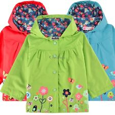 Hot Baby Girls Kids Lovely Rain Coat Hoodies Jacket Raincoat Hooded Coat 2-9Y