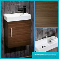 Bathroom Cloakroom Compact Walnut Vanity Unit Cabinet with Ceramic Basin