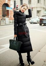 Womens Full Long Parka Down Thicken Belt Bow Hooded Outwear Coat Warm Overcoat