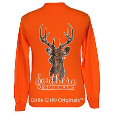 "Girlie Girl Originals ""Camo Deer"" Long Sleeve Orange Unisex Fit T-Shirt"
