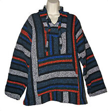 Baja Hoodie Woven Unisex Blue Mexican Poncho Skater Pullover Jacket M L