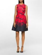 calvin klein womens floral sleeveless fit + flare dress