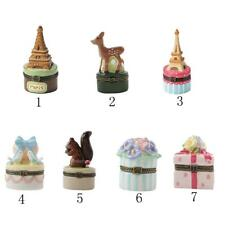 Cute Painted Ceramics Trinket Jewelry Ring Pendant Box Necklace Storage Gifts