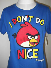 New ANGRY BIRDS I don't Do NICE Women's Jr T-SHIRT TEE   S M L Blue