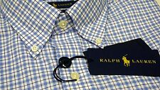 NWT $98 Polo Ralph Lauren LS Shirt Mens Size M Non Iron Blue Plaid Check NEW