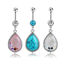 14G Rhinestone Water Droplets Navel Belly Button Ring Belly Body Jewelry