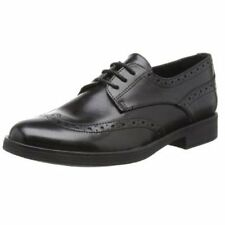 Geox Agata Girls Black Leather Lace Up Brogue School Shoes