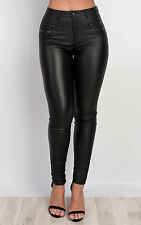 Women's Ladies Stunning Faux Leather Zip Detail Casual Trousers