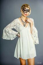 Umgee Ivory Cream BabyDoll Peasant Lace Bell Sleeves Top Mini Dress Tunic S M L