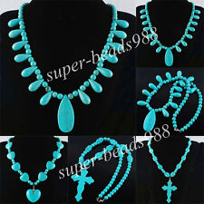 Howlite Turquoise Gemstone Beads Cross Heart Drop Pendant Necklace 21'' SBH027