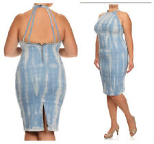 PLUS SIZE HIGH QUALITY DENIM SKY  BLUE TIE DYE DRESS SIZE 1X 2X 3X