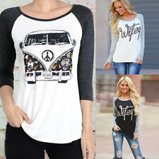 Fashion Womens Letters Printed Long Sleeve Shirt Loose Tops Casual Cotton Blouse