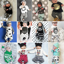Newborn Infant T-shirt Tops Pants Outfits Set Playsuit Romper Babygrow Boy Girl