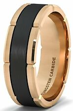 Mens Wedding Band 8mm Rose Gold Tungsten Carbide Ring Brushed Black Section Cut