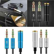 3.5mm Y Splitter Audio Mic Cable Headphone Adapter Female to 2 Stereo Male New