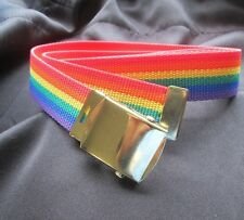 "Gay Pride Rainbow Canvas Belt with Military Style Brass Buckle 42"" Or 54 "" - NEW"