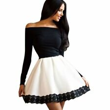 Women Sexy Long Sleeve Evening Party Cocktail Short Mini Dress Off Shoulder