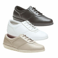 Ladies New Black Beige Or White Leisure Oxford 'Treble' Leather Shoes UK 3 - 9
