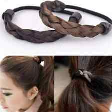 Womens Braid Straight Wig Elastic Brown Hair Band Headband Rope Ponytail Holder