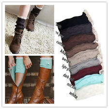 Women Crochet Knitted off White Lace Trim Boot Cuffs Toppers Legs Warmers Socks