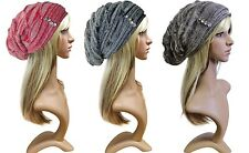 Ladies Angora Knitted Cap Strass Balloon Winter Hat Baker's Boy Cap Long Beanie