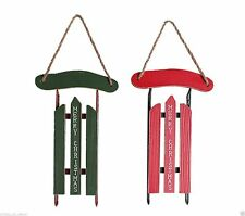 Merry Christmas Ornament  Red Green Holiday Wooden Snow Sled Flyer Decoration