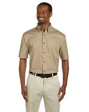 Harriton Button Down Shirt Men's Short Sleeve Twill with Stain-Release M500S NEW
