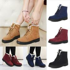 Womens Faux Suede Fur Fleece Lace-up Ankle Snow Boots Winter Warm Military Shoes
