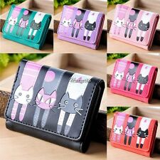Womens Cat Pattern Coin Purse Clutch Leather Short Wallet Card Holders UTAR