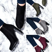 SPYLOVEBUY THORA Block Heel Ankle Boots Shoes SZ 3-8