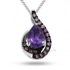 Amethyst & PinK CZ Pendant in 925 sterling Silver