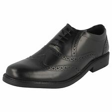 MEN'S HUSH PUPPIES BLACK LEATHER BROGUE LACE UP SHOES ROCKFORD BROGUE