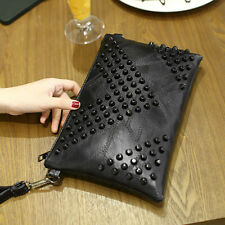 Fashion Women Handbag Black Rivet PU Leather Shoulder Bag Satchel Tote Purse