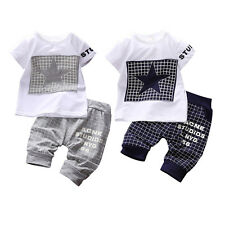 Cute Infant Baby Boys Tee Shirt + Pants Trousers Outfits Set Kids Summer Clothes