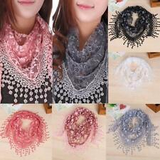 Fashion Beauiful Ladies' Hollow Tassel Lace Rose Floral Scarf Shawl Wrap