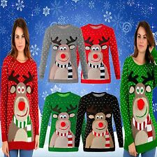 Unisex Christmas Vintage Novelty 70'S Xmas Jumper POM POM Nose FUN Retro Sweater