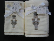 Nutcracker Christmas Towel Sets Ivory+Embroidered Silver/Gold~Fingertip or Hand